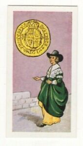 BRITISH COINS & COSTUMES CARDS 1960S. KING CHARLES I. GOLD COIN