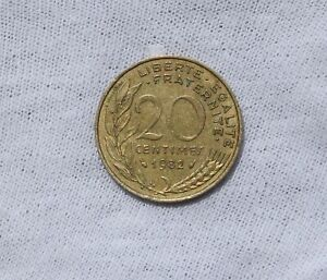 1982 FRANCE 20 CENTIMES; CIRCULATED