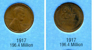 LINCOLN HEAD WHEAT CENT 1917 P AVERAGE CIRCULATED UNITED STATES PENNY COIN 1047