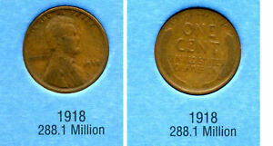 LINCOLN HEAD WHEAT CENT 1918 P AVERAGE CIRCULATED UNITED STATES PENNY COIN 4181