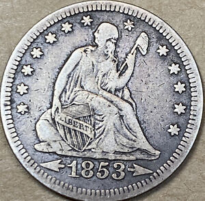 1853 SEATED LIBERTY QUARTER DOLLAR  ARROWS AND RAYS   VF   FINE   BEAUTY