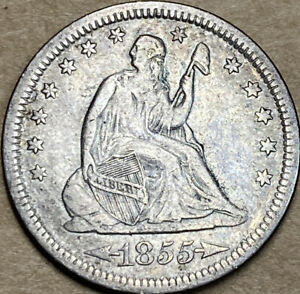 1855 SEATED LIBERTY QUARTER DOLLAR WITH ARROWS  XF EXTRA FINE