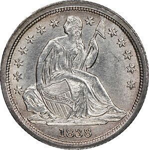1838 SEATED LIBERTY DIME LARGE STARS NGC UNC MS DETAILS TONED CHOICE