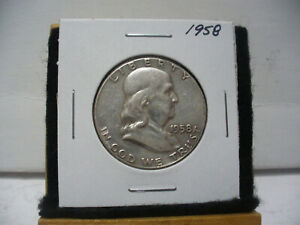 Click now to see the BUY IT NOW Price! 1958    BEN FRANKLIN   HALF  DOLLAR      50 CENT PIECE   COIN   58  GOOD GRADE