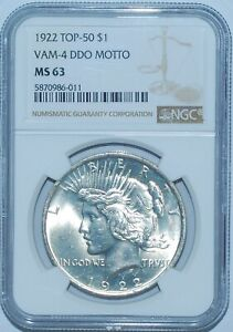 1922 P NGC MS63 VAM 4 TOP 50 DDO DOUBLED MOTTO PEACE SILVER DOLLAR