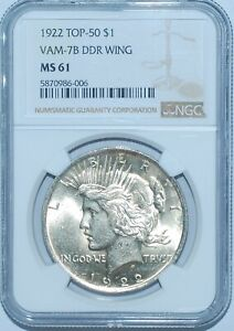 1922 P NGC MS61 VAM 7B TOP 50 DDR DOUBLED WING PEACE SILVER DOLLAR