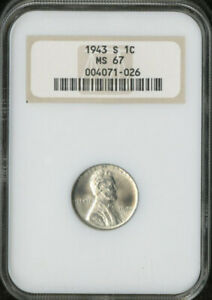 USA 1C LINCOLN STEEL WHEAT CENT 1943 S NGC MS 67