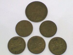 MIXED LO T 1919 CANADIAN LARGE CENT & 5 CANADIAN CENTS 1933 1934 1938 1939 1940