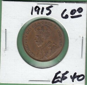 1915 CANADA LARGE ONE CENT COIN   EF 40