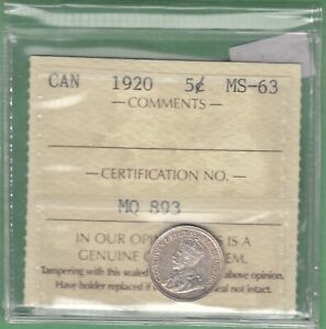 1920 CANADA 5 CENTS SILVER COIN   ICCS GRADED MS 63