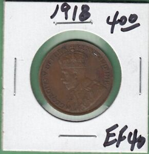 1918 CANADIAN LARGE ONE CENT COIN   EF 40