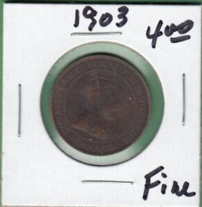 1903 CANADIAN LARGE ONE CENT COIN   FINE