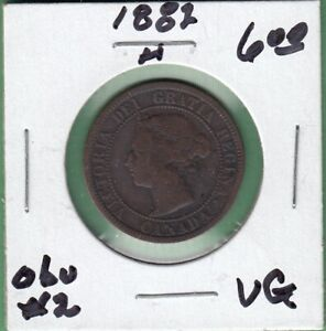 1882 H CANADIAN LARGE ONE CENT COIN   OBVERSE 2   VG