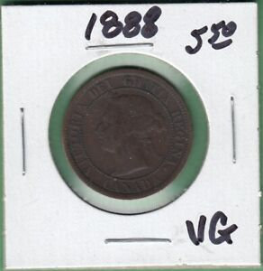 1888 CANADIAN LARGE ONE CENT COIN   VG