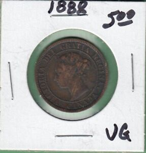 1888 CANADA LARGE ONE CENT COIN   VG