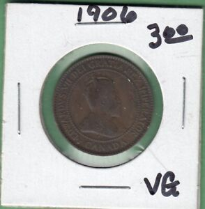 1906 CANADA LARGE ONE CENT COIN   VG