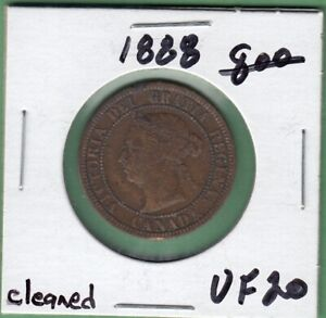 1888 CANADA LARGE ONE CENT COIN   VF 20  CLEANED
