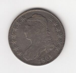 1821 CAPPED BUST HALF DOLLAR SILVER COIN   EF