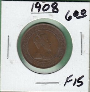 1908 CANADA LARGE ONE CENT COIN   F 15