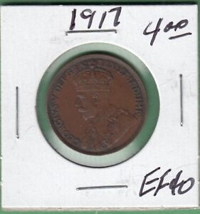 1917 CANADIAN LARGE ONE CENT COIN   EF 40