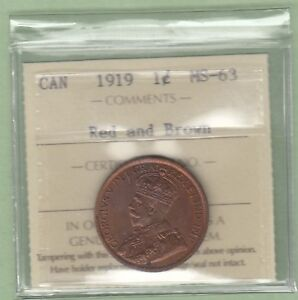 1919 CANADIAN LARGE ONE CENT COIN   ICCS GRADED MS 63