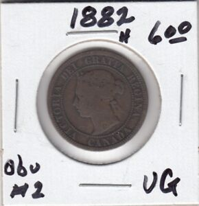 1882 H CANADA LARGE ONE CENT COIN   OBVERSE 2   VG