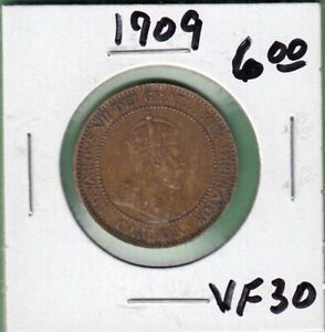 1909 CANADA LARGE ONE CENT COIN   VF 30