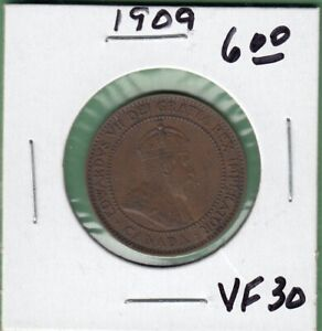 1909 CANADIAN LARGE ONE CENT COIN   VF 30