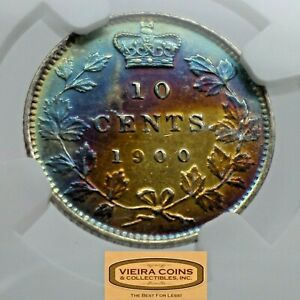 1900 CANADA SILVER 10 CENTS NGC UNC DETAILS REVERSE TONED    CONS20620NQ