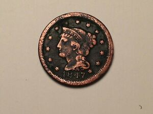 CIRCULATED 1847 US  LARGE CENT BRAIDED HAIR