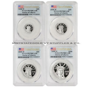 Click now to see the BUY IT NOW Price! SET OF 4 2008 W AMERICAN PLATINUM EAGLE PCGS PR70DCAM FIRST STRIKE EAGLES COINS