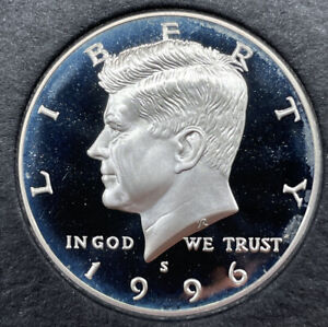1996 S PROOF SILVER KENNEDY HALF DOLLAR FROM PROOF SET WITH