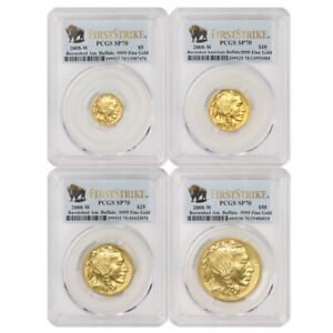Click now to see the BUY IT NOW Price! SET OF 4 2008 W GOLD BUFFALOS PCGS SP70 FIRST STRIKE BURNISHED BUFFALO FS MS70
