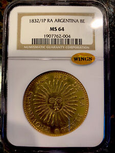 Click now to see the BUY IT NOW Price! 1832/1 P RA ARGENTINA LA RIOJA 8 ESCUDOS 8E GOLD NGC MS64 TOP POP 1 OF 1 WINGS