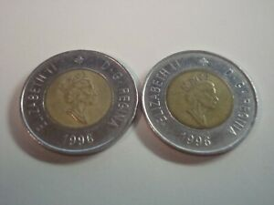LOT OF 2   1996 $2 DOLLARS CANADA  FIRST YEAR   TOONIES   843A