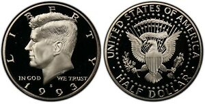 1993 S PROOF KENNEDY HALF DOLLAR   CLAD  GEM DEEP CAMEO  FROM US MINT PROOF SET