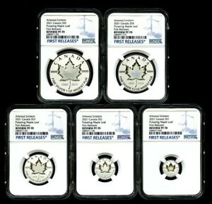 Click now to see the BUY IT NOW Price! 2021 CANADA SILVER PULSATING MAPLE LEAF 5 COIN SET NGC PF70 REV PROOF MINTAGE 3K
