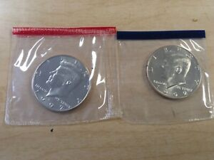 1992 P AND D KENNEDY HALF DOLLAR SET IN MINT CELLOS 2 BU KENNEDY'S