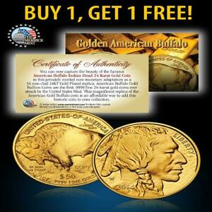 24K GOLD PLATED 2017 AMERICAN GOLD BUFFALO INDIAN COIN   BUY 1 GET 1 FREE   BOGO