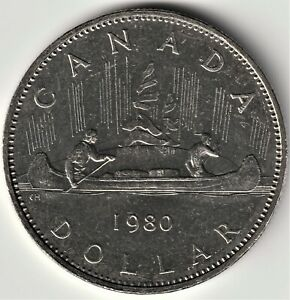 UNC.1980 CANADA $1 COIN   ROTATED DIES