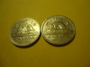 TWO CANADIAN COINS    1992 NICKELS        USA SELLER