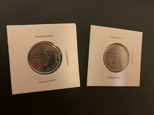2012  CANADIAN HEROES OF 1812: TECUMSEH QUARTER 2 COINS SET  ONE COLORED UNC