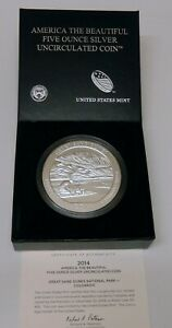 2014 GREAT SAND DUNES   AMERICA THE BEAUTIFUL 5 OZ SILVER WITH US MINT BOX / COA