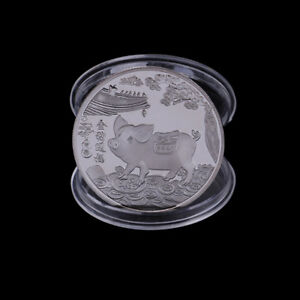 SILVER PLATED PIG COMMEMORATIVE COINS CHINESE ZODIAC ANNIVERSARY COIN SOUVENI I