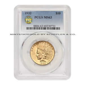 1932 $10 GOLD INDIAN HEAD EAGLE PCGS MS63 PQ APPROVED PHILADELPHIA COIN