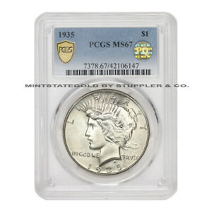 Click now to see the BUY IT NOW Price!  1935 $1 PEACE PCGS MS67 BLAST WHITE PQ APPROVED PHILADELPHIA SILVER DOLLAR