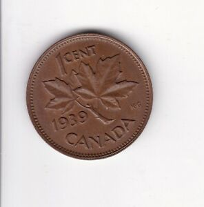 VINTAGE 1939 CANADIAN GEORGE VI ONE CENT COIN