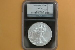2013 W  BURNISHED  AMERICAN SILVER EAGLE NGC MS70