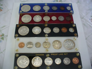 Click now to see the BUY IT NOW Price! LOT OF  5 1959 65  CANADA SILVER COIN SET  DOLLAR  1$ QUARTER DIME HALF PENNY