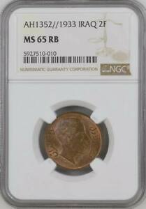Click now to see the BUY IT NOW Price! IRAQ/IRAK   2 FILS 1933 KING FAISAL I   NGC MS 65 RB   TOP POP  P
